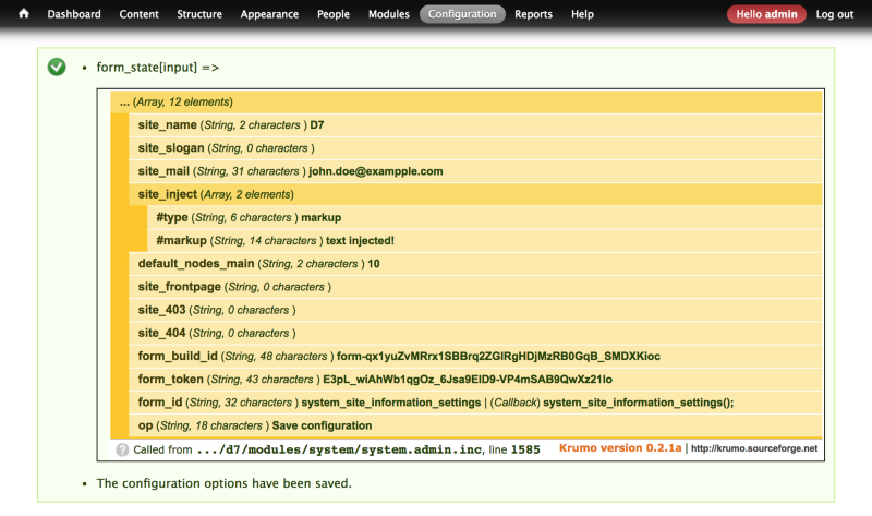 Screenshot showing injected form inputs