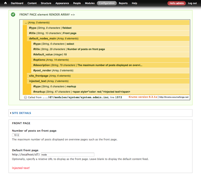 Drupal render array modified before rendering #1