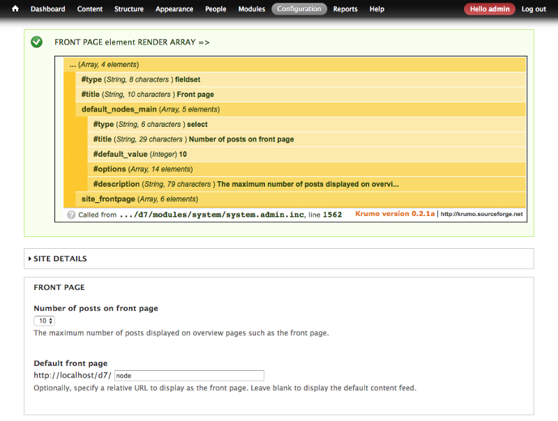 Example of drupal render array and the resulting html output