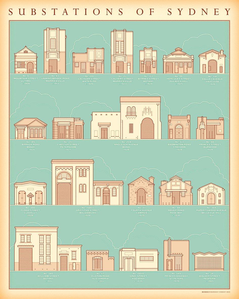 Substations of Sydney illustrated print by Barocky Chocky