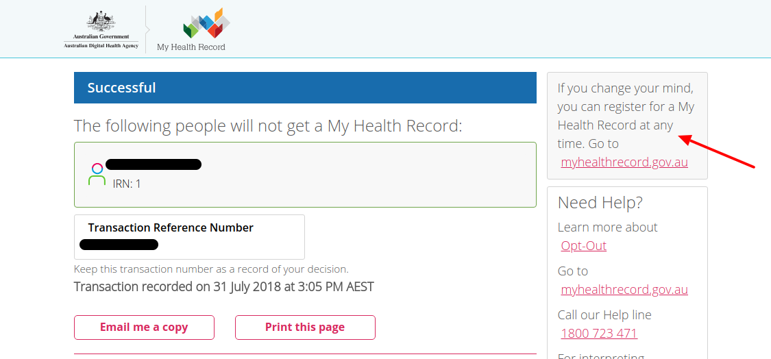 My Health Record website - opt-out page done!