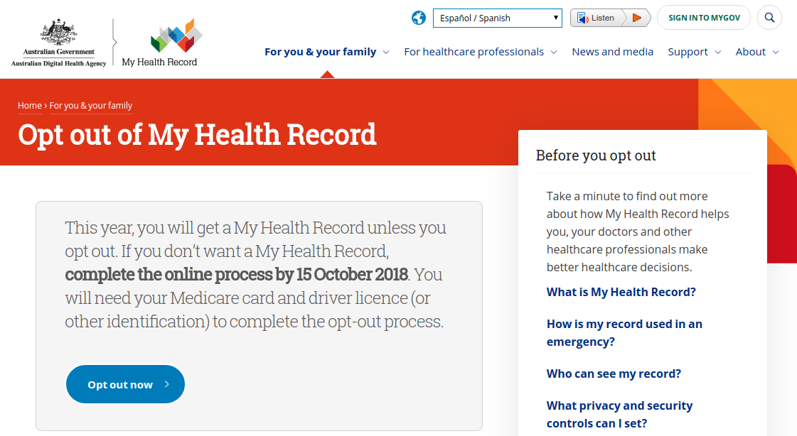 My Health Record website - opt-out page