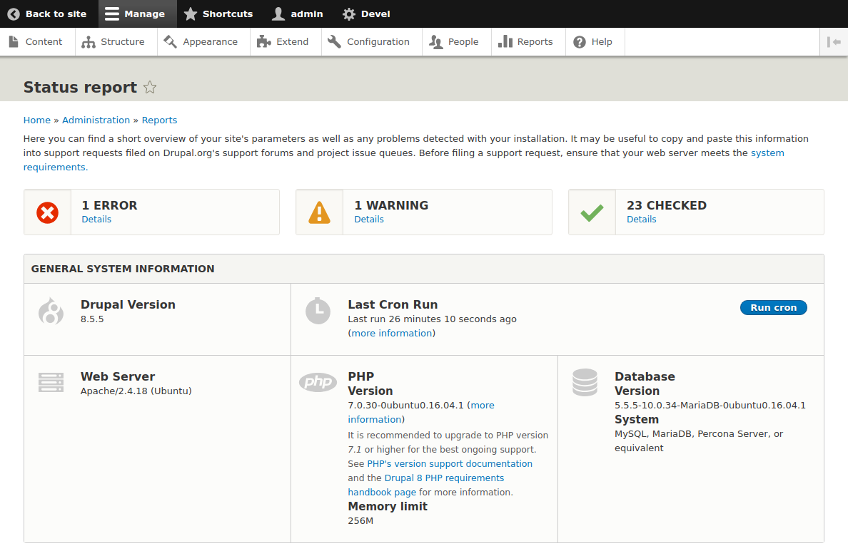 Drupal Status report page at the end